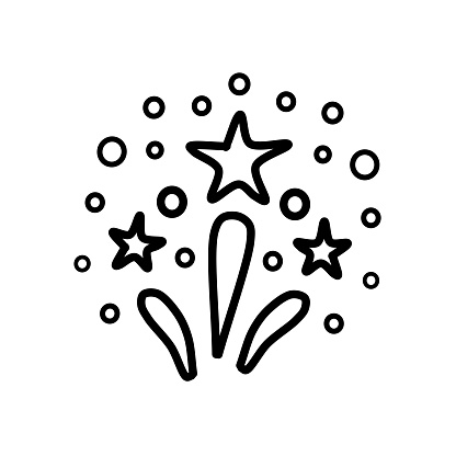 Hand-drawn firework isolated on a white background. Fireworks in the style of doodles. Vector illustration