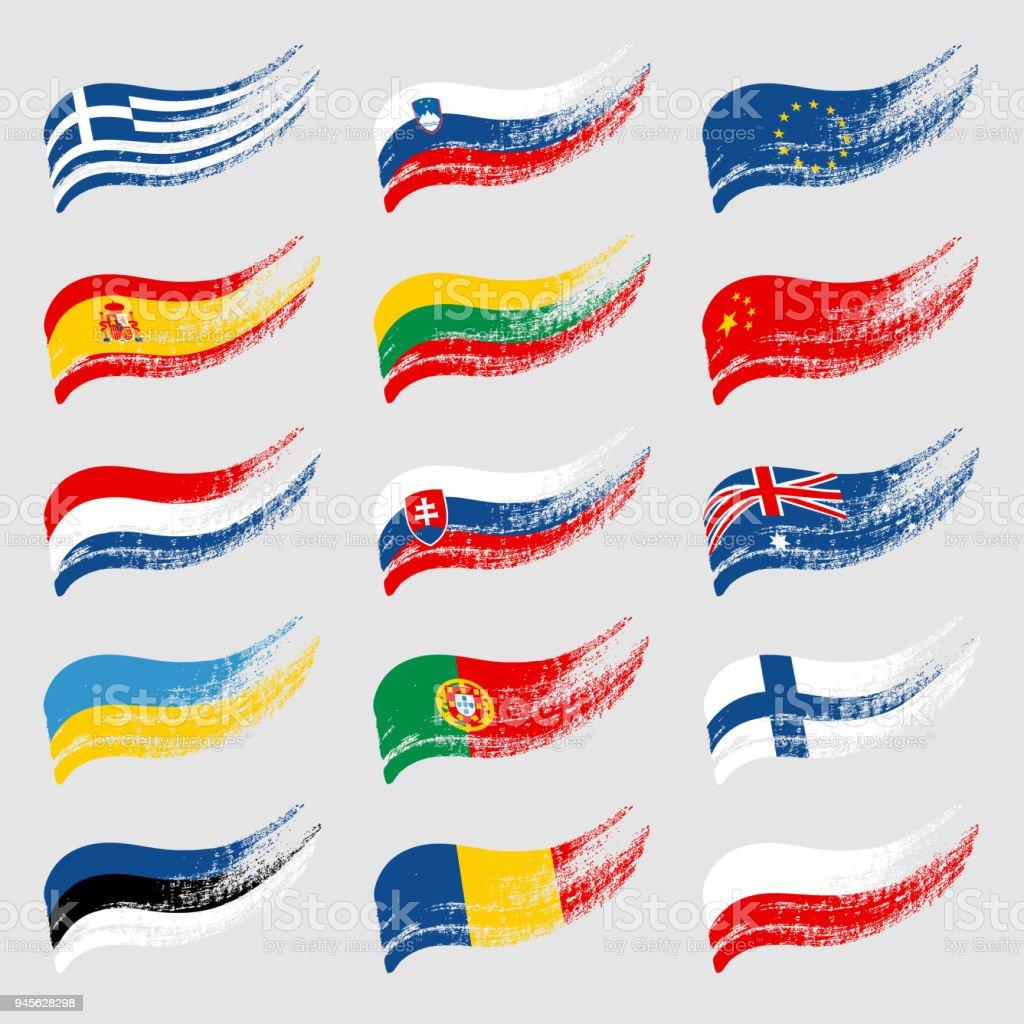 Hand-drawn flags of the world on light background. - ilustração de arte vetorial