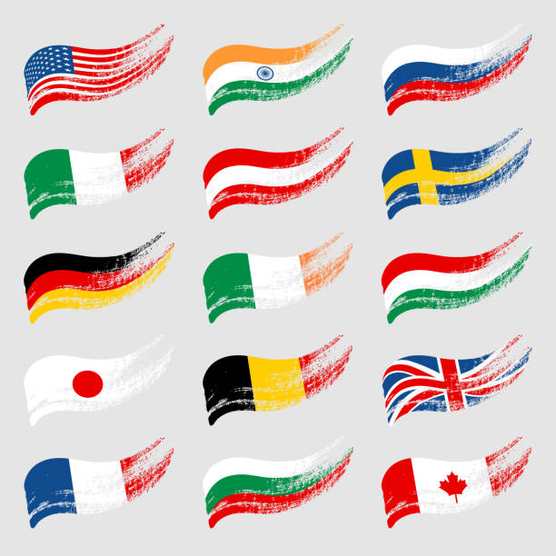 Hand-drawn flags of the world on light background. Images for your design projects: banners, cards, posters, textile. national flag illustrations stock illustrations