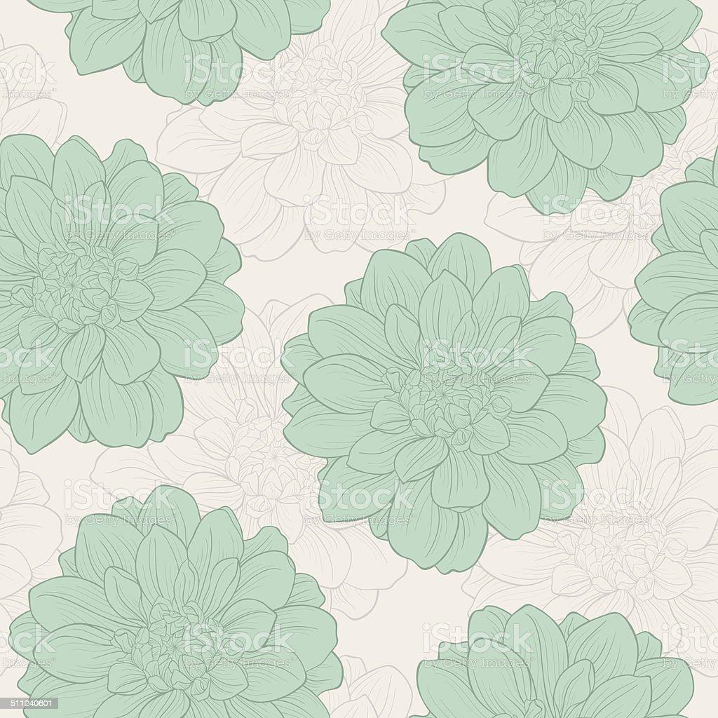 Hand-drawn flowers of dahlia. Seamless pattern vector art illustration