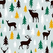 Hand-drawn forest silhouettes seamless pattern with deer