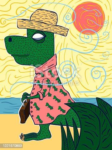 Hand-drawn funny cartoon illustration - Dinosaur on vacation.