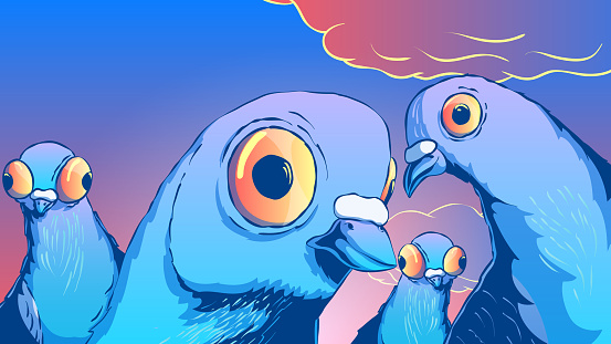 Hand-drawn funny cute illustration - Curious pigeons.