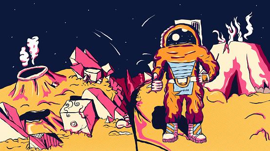 Hand-drawn futuristic alien illustration - Astronaut on an alien planet.