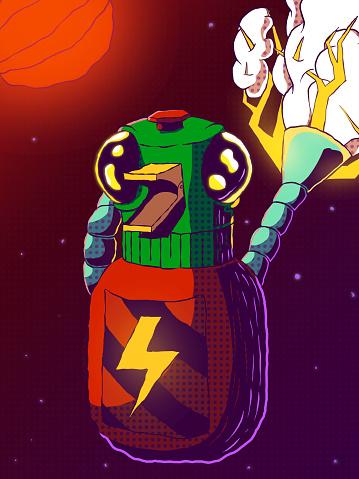 Hand-drawn futuristic comic book illustration - Robot duck in space.