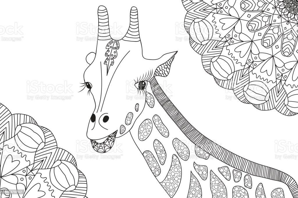 Boyama Kitabi Icin Elcizilmis Zurafa Illustrasyon Stok Vektor