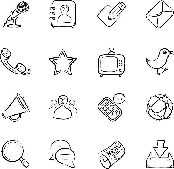 ilustrações de stock, clip art, desenhos animados e ícones de ícones de comunicação - video call