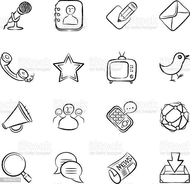 Ícones De Comunicação - Arte vetorial de stock e mais imagens de Agenda de Telefones