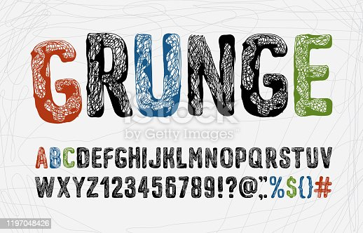 Grunge style font set. Hand-drawn alphabet. Symbols and numbers