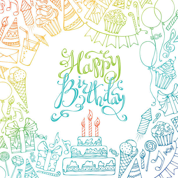 Hand-drawn Happy Birthday square background. Colourful doodles gift boxes, garlands and balloons, music notes, party blowouts, cakes and candies, birthday pie, party hats, hand-drawn lettering. There is place for your text in the center. cake borders stock illustrations