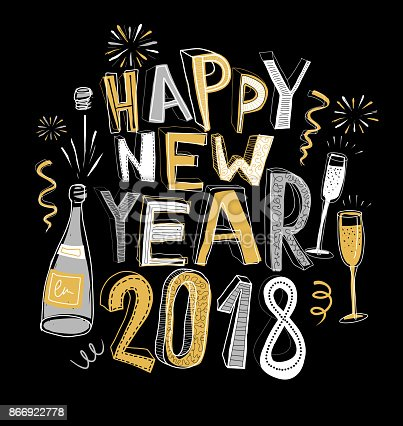 handdrawn happy new year card 2018 doodle stock vector art more images of cartoon 866922778 istock