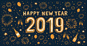 2019 hand-drawn Happy new year card. You can edit the colors or sizes easily if you have Adobe Illustrator or other vector software. All shapes are vector