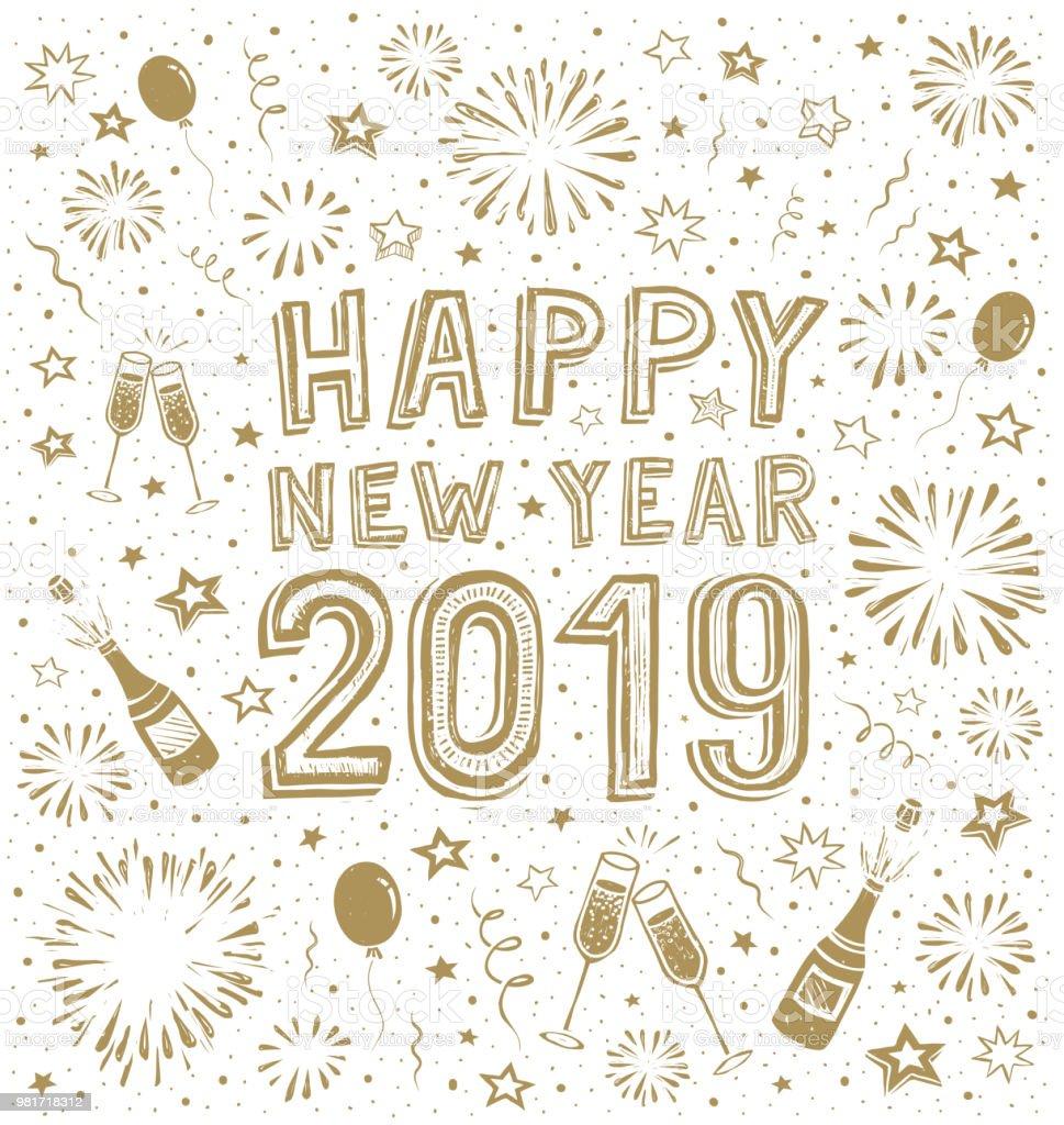 花火で新年の手描きカード 2019年のベクターアート素材や画像を多数ご