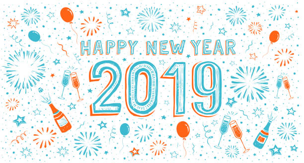 hand-drawn Happy new year card with fireworks 2019 hand-drawn Happy new year card. You can edit the colors or sizes easily if you have Adobe Illustrator or other vector software. All shapes are vector fireworks illustrations stock illustrations