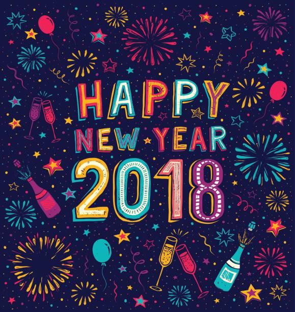 幸せな新年を手描き落書きカード - 大晦日点のイラスト素材/クリップアート素材/マンガ素材/アイコン素材
