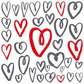 Hand-drawn hearts set. Vector sketch illustration.