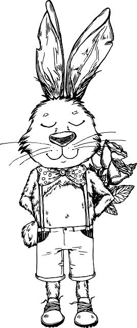 Hand-drawn  illustration. Bunny boy with flower. Vintage