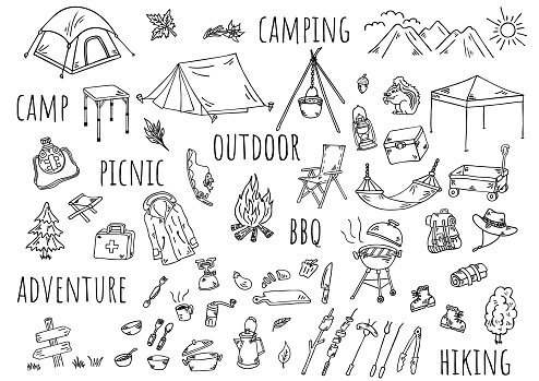 Hand-drawn illustration: camping outdoors