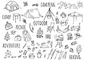istock Hand-drawn illustration: camping outdoors 1251547909