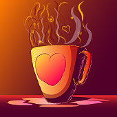Hand-drawn magic illustration - Cup of hot drink.