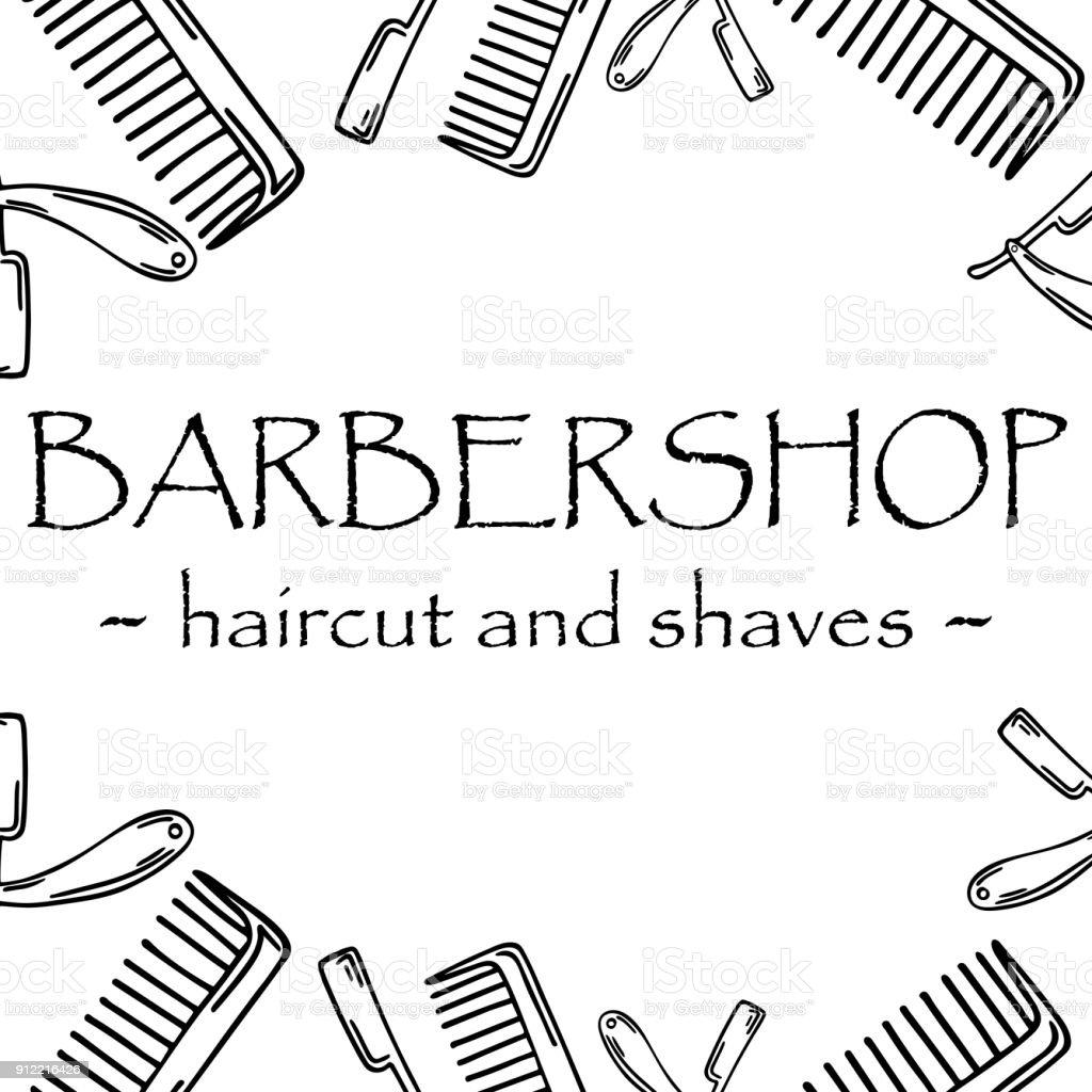 Ilustração de mão-extraídas para barbearia. tipo... - ilustração de arte em vetor