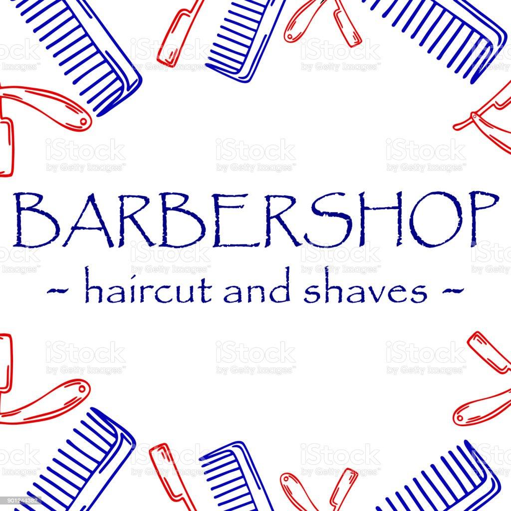 Ilustração de mão-extraídas para barbearia... - ilustração de arte em vetor