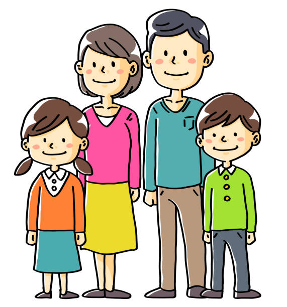 illustrazioni stock, clip art, cartoni animati e icone di tendenza di hand-drawn illustration material family couple couple children two people - two students together asian