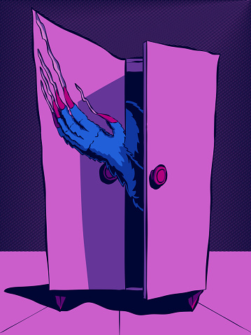 Hand-drawn illustration - Monster in the closet.