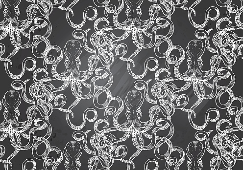 Hand-drawn illustration Octopus in Gray Chalkboard Background. Black and White Pattern. Sea Life Theme.