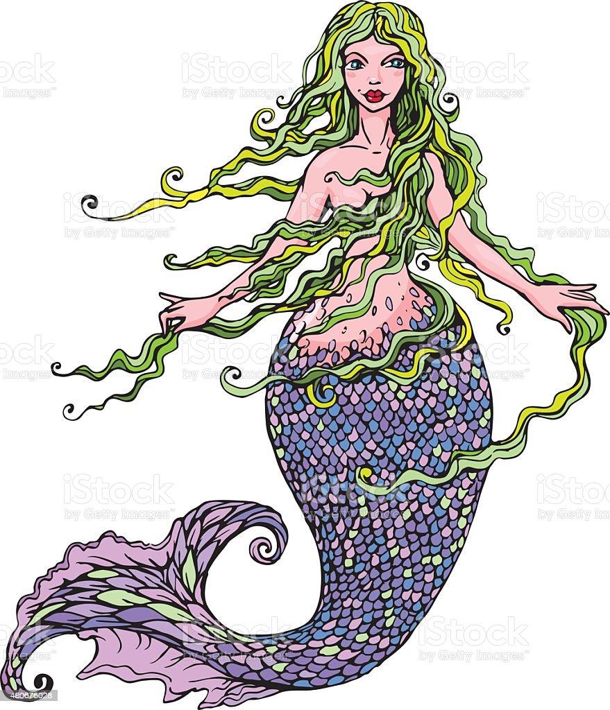Handdrawn Illustration of Beautiful mermaid girl isolated on white background. vector art illustration