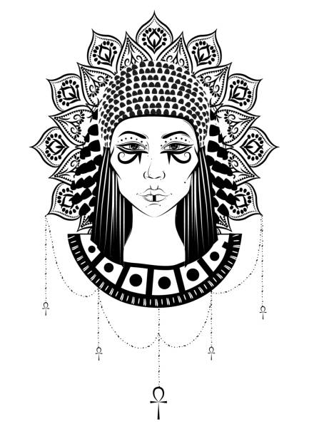 Hand-drawn illustration of the ancient Cleopatra's head at boho, gypsy, vintage style. vector art illustration