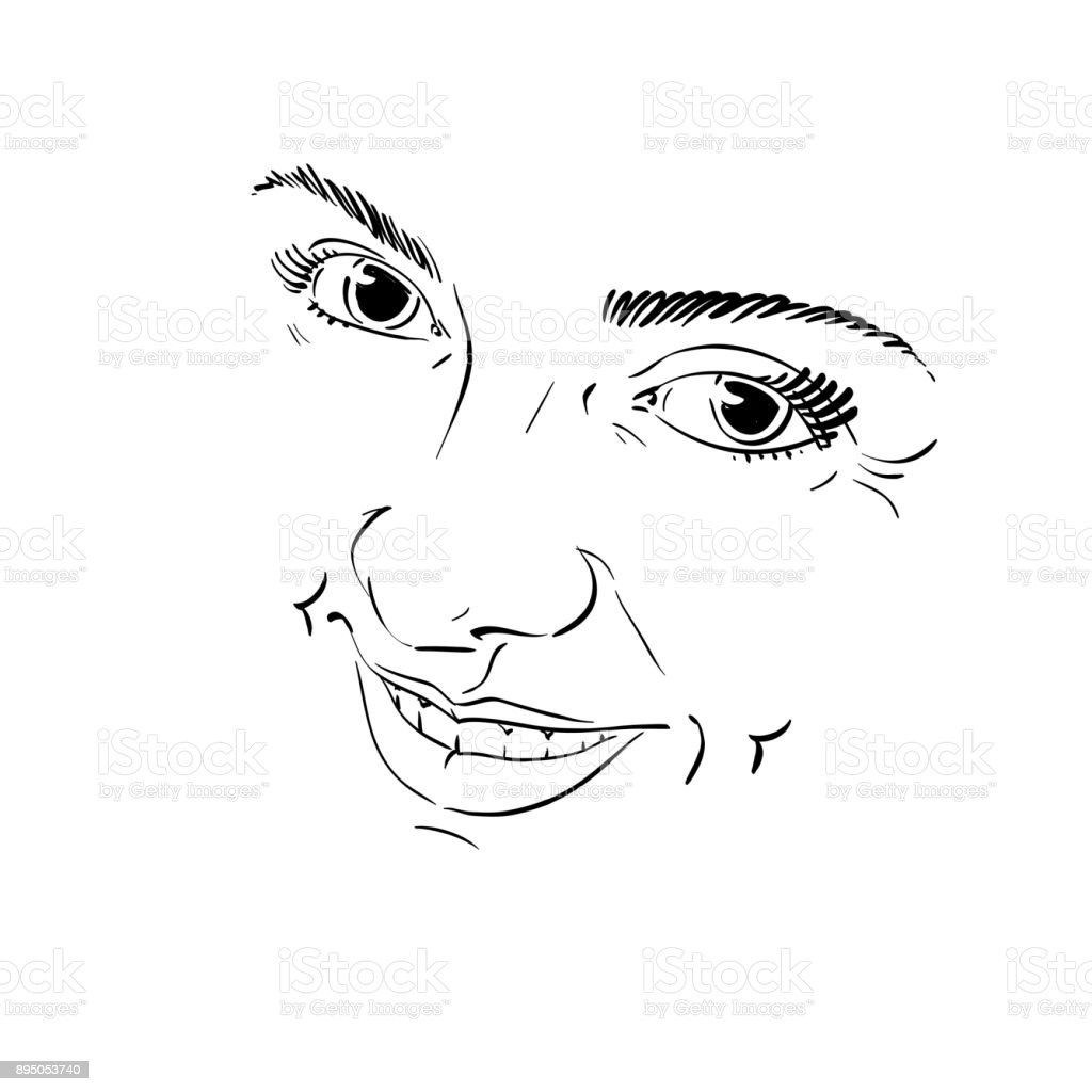 Handdrawn illustration of woman face black and white mask