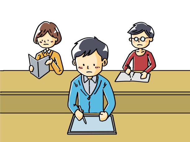 タブレットで講義を受ける生徒の手描きイラスト - 大学生 パソコン 日本点のイラスト素材/クリップアート素材/マンガ素材/アイコン素材