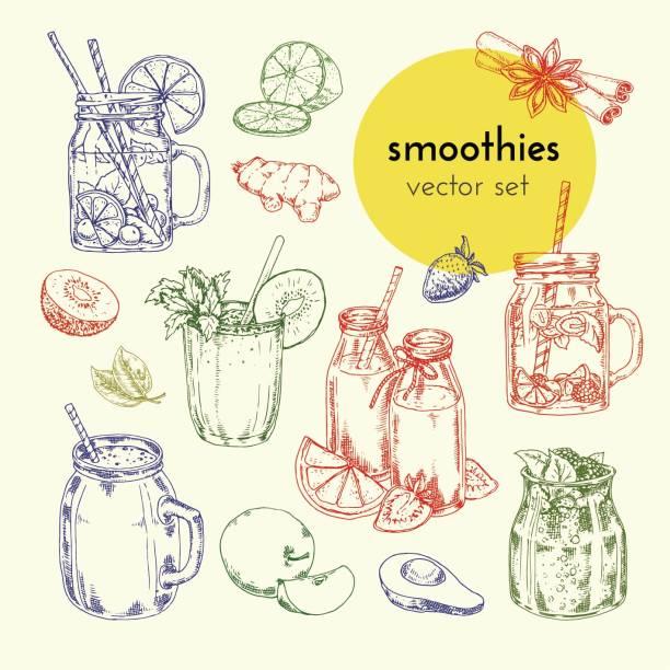 bildbanksillustrationer, clip art samt tecknat material och ikoner med handritade illustrationer smoothie i glasburkar och ingredienser - smoothie