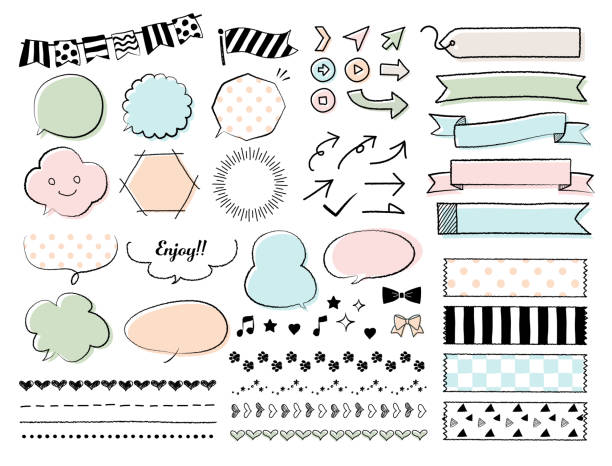 hand-drawn illustrations / speech bubbles, frames, lines/ various material set - cute stock illustrations