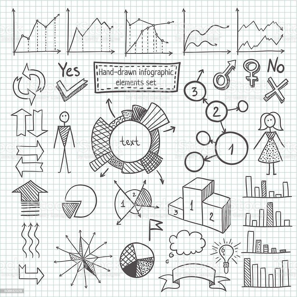 Hand-drawn infographic element set vector art illustration