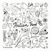 Vector Illustration of Hand-drawn Italian Food Doodles. Pizza, Pasta, Ice Cream, Tomato Sketchy Drawings