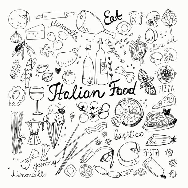 Hand-drawn Italian Food Doodles Vector Illustration of Hand-drawn Italian Food Doodles. Pizza, Pasta, Ice Cream, Tomato Sketchy Drawings mozzarella stock illustrations