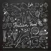 Hand-drawn Italian Food Doodles