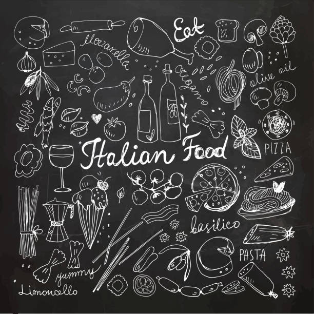 Hand-drawn Italian Food Doodles vector art illustration