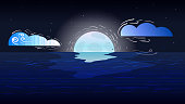 Hand-drawn landscape of the night sea - Moon over the sea.