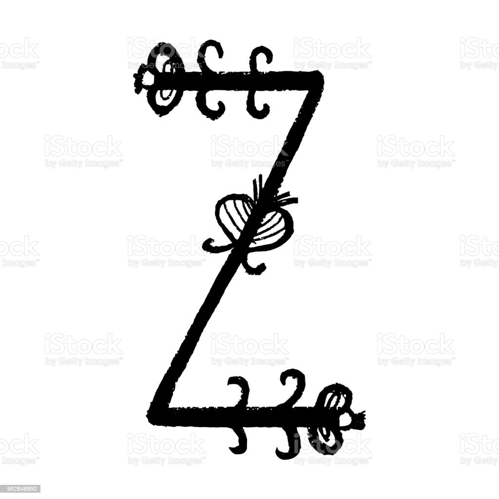 Handdrawn Latin Alphabet The Letter Z Floral Element Of Alphabet
