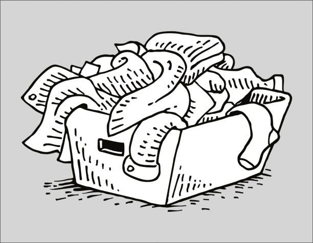 Hand-drawn laundry basket laundry basket laundry basket stock illustrations