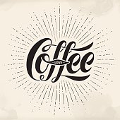 Hand-drawn lettering inscription Coffee Love on watercolor background. Monochrome vintage drawing, typographic and calligraphic. Design for print food and drink theme - menu, poster and greeting card. Vector Illustration