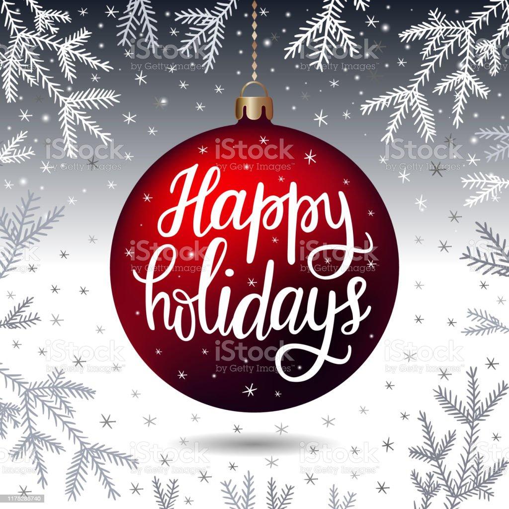 Нарисованная от руки надпись Happy Holidays - Векторная графика Pinaceae роялти-фри