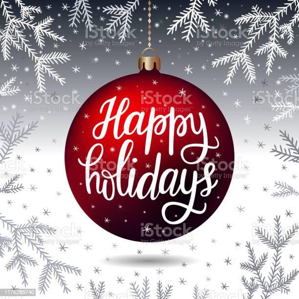 Нарисованная От Руки Надпись Happy Holidays — стоковая векторная графика и другие изображения на тему Pinaceae