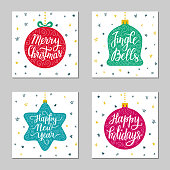 Hand-drawn lettering inscription Happy New Year, Holidays, Merry Christmas, on the star, ball toy background. Greeting gift card design set. EPS 10 vector illustration