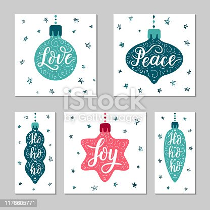 Hand-drawn lettering word inscription Love, Peace, Joy, Ho-ho-ho on the cartoon style star, icicle, ball toy background. Greeting gift card design set. EPS 10 vector illustration