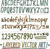 Hand-drawn alphabet, letters and numbers, in vector format. Outlines and colors are on separate layers and are 100% customizeable for easy editing.