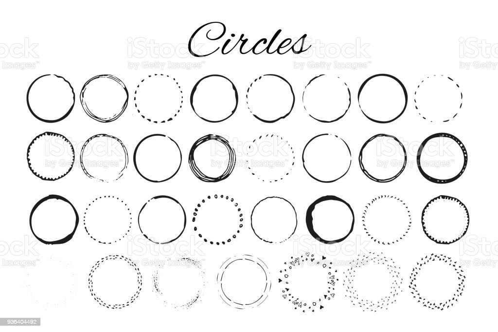 Handdrawn logo elements with circles. Design your own perfect logo. vector art illustration